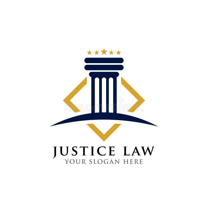 Het malplaatje van het het embleemontwerp van de rechtvaardigheidswet pijler en stervormillustra vector illustratie