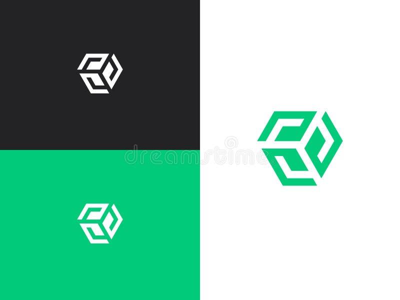 Het malplaatje van het embleemontwerp Kleurrijk creatief hexagon teken stock illustratie