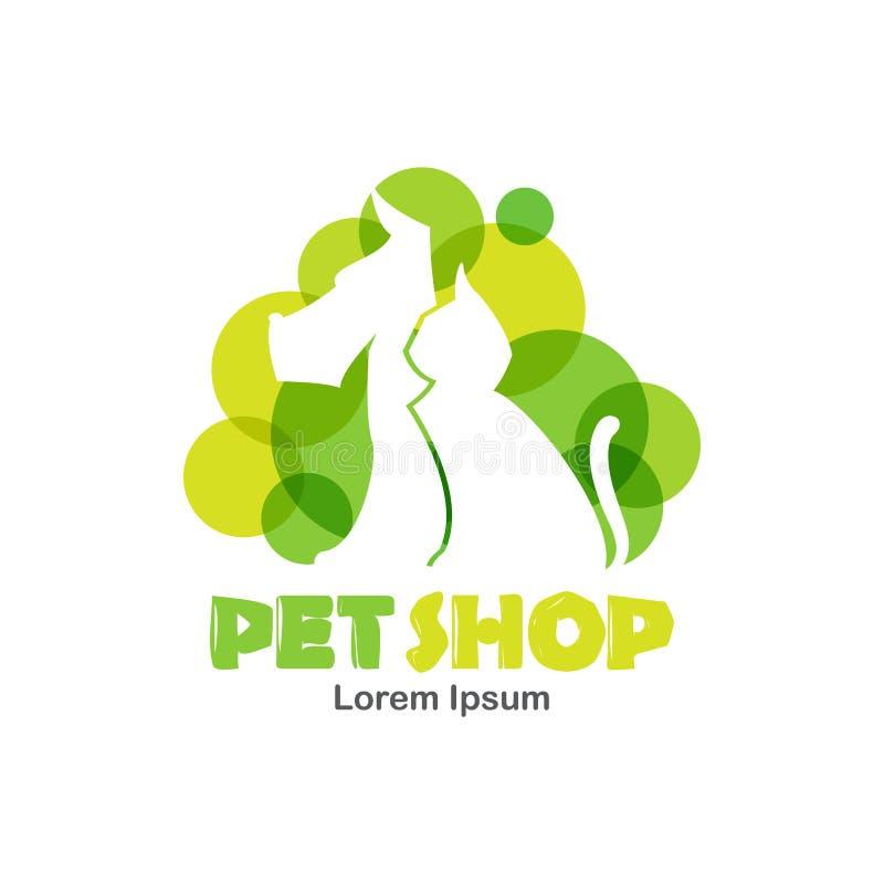 Het malplaatje van het embleemontwerp voor dierenwinkel, veterinaire kliniek Silhouet van hond en kat met groene bellen vector illustratie