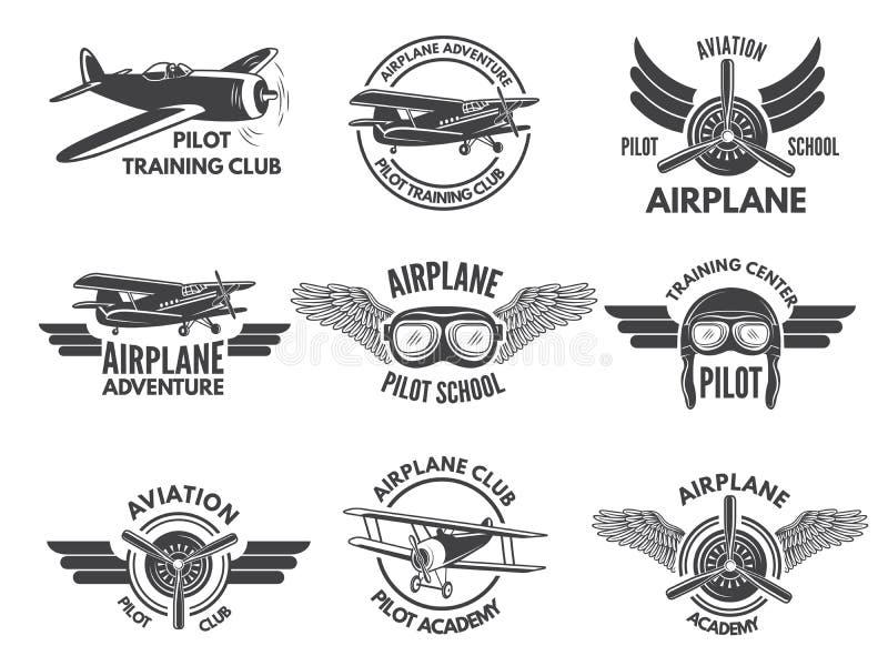 Het malplaatje van het etikettenontwerp met beelden van vliegtuigen stock illustratie