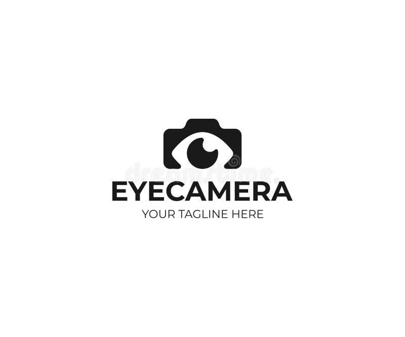 Het malplaatje van het fotografieembleem Van het fotocamera en oog vectorontwerp stock illustratie