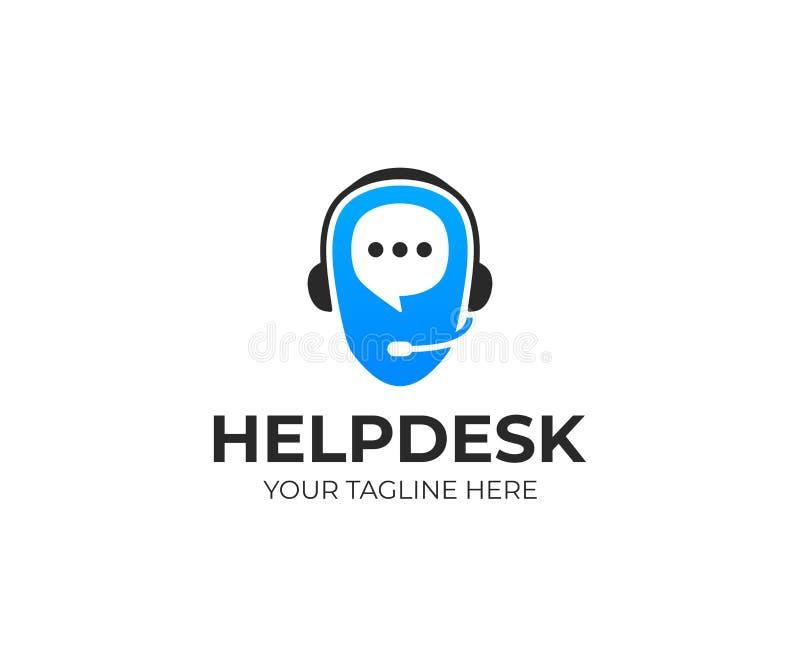 Het malplaatje van het helpdeskembleem Ondersteunende dienst vectorontwerp stock illustratie
