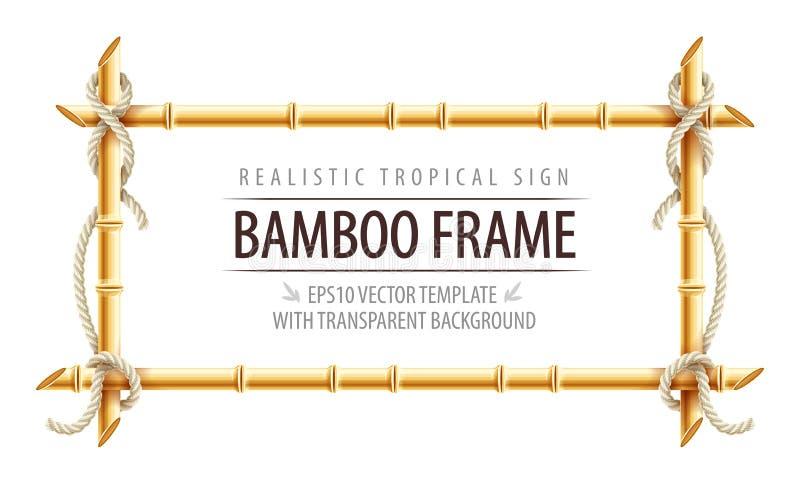 Het malplaatje van het bamboekader voor tropisch uithangbord royalty-vrije illustratie