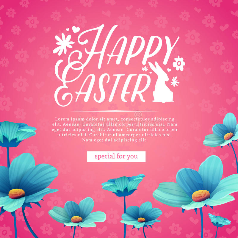 Het malplaatje van het bannerontwerp met blauwe bloemdecoratie voor de lente Pasen Uitnodiging voor Pasen-vakantie met embleem en vector illustratie