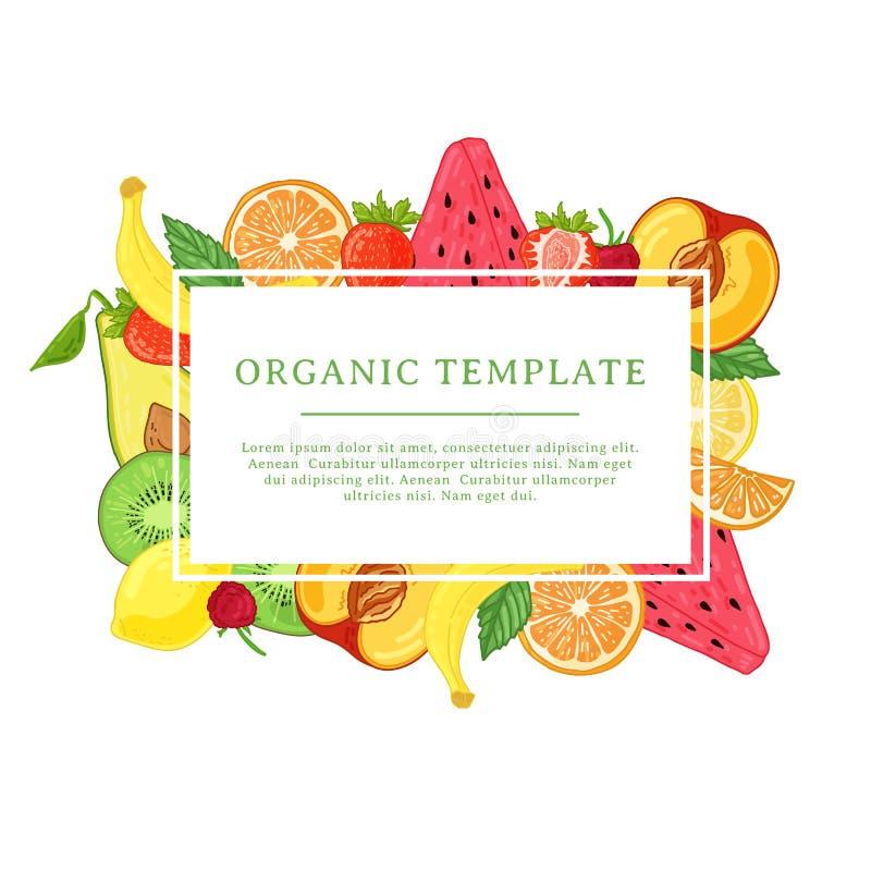 Het malplaatje van het bannerontwerp met fruitdecoratie Rechthoekig kader met het decor van gezond, sappig fruit Kaart met ruimte vector illustratie