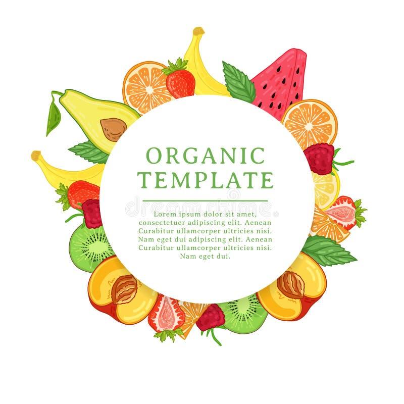 Het malplaatje van het bannerontwerp met tropische fruitdecoratie Rond kader met het decor van gezond, sappig fruit Kaart met royalty-vrije illustratie