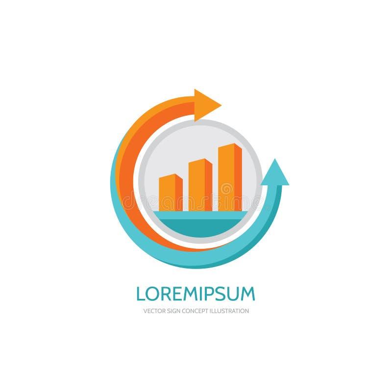 Het malplaatje van het bedrijfsfinanciënembleem - vectorconceptenillustratie Economisch infographic teken Pijlen en infograph bar vector illustratie
