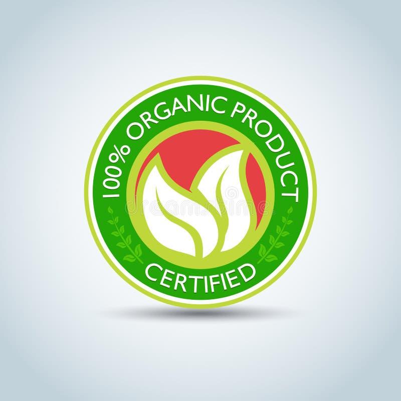 ` 100% het malplaatje van het Biologisch product` Eco embleem, bioetiket met retro uitstekend ontwerp Vector formaat royalty-vrije illustratie
