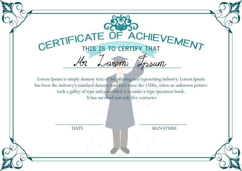 Het malplaatje van het certificaat Certificaat van voltooiing Gediplomeerd studentencertificaat vector illustratie