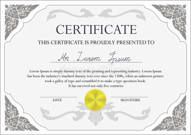 Het Malplaatje van het certificaatontwerp royalty-vrije illustratie