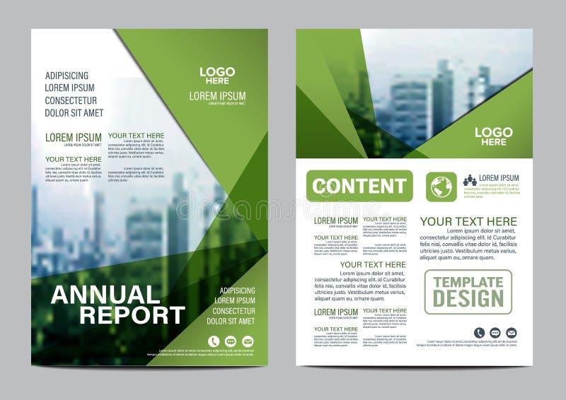 Het malplaatje van het de Lay-outontwerp van de groenbrochure De Presentatie van de het Pamfletdekking van de Jaarverslagvlieger stock illustratie