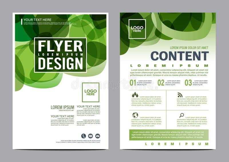 Het malplaatje van het de Lay-outontwerp van de groenbrochure Van de het Pamfletdekking van de Jaarverslagvlieger de Presentatie  royalty-vrije illustratie