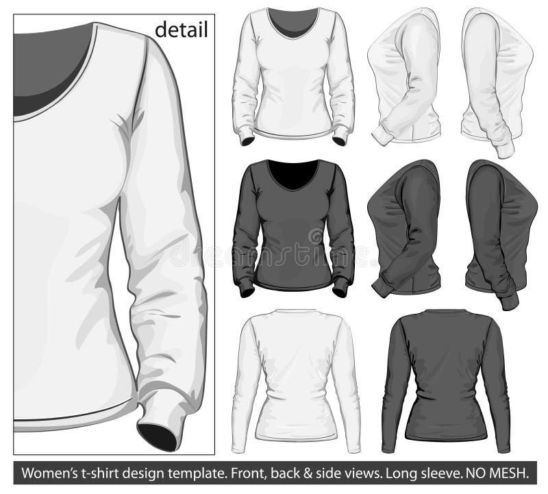 Het malplaatje van het de t-shirtontwerp van vrouwen. Lange koker stock illustratie
