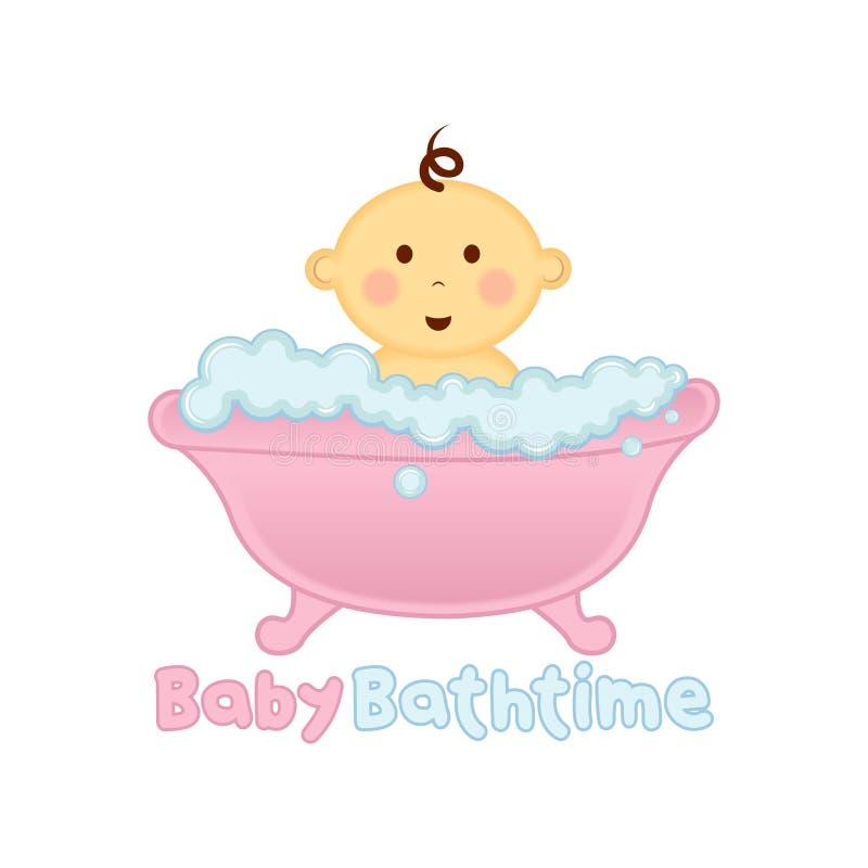 Het malplaatje van het de tijdembleem van het babybad, Baby het Baden embleem, Babydouche stock illustratie