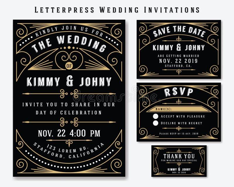 Het Malplaatje van het de Uitnodigingsontwerp van het letterzetselhuwelijk stock illustratie