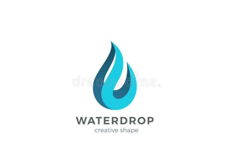 Het malplaatje van het het Embleemontwerp van de waterdaling Golfconcept Waterdroppictogram Het idee van Logotype van het Aquadru royalty-vrije illustratie