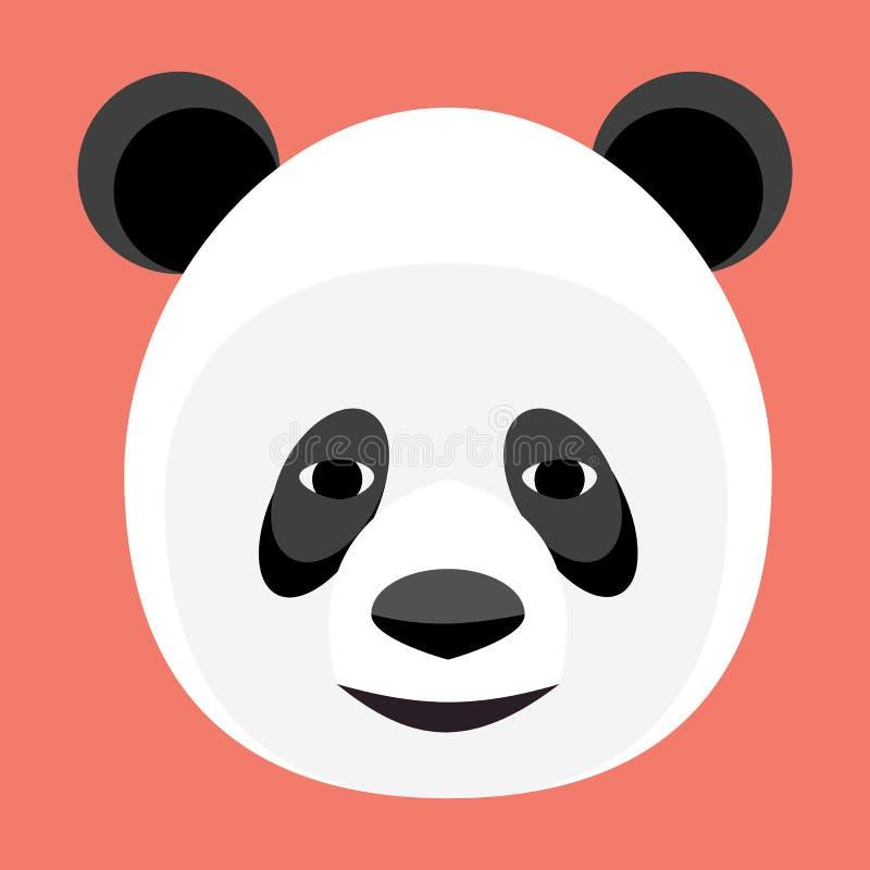 Het malplaatje van het het gezichtsembleem van de babypanda pictogram Aziatisch draag hoofd op witte achtergrond stock illustratie