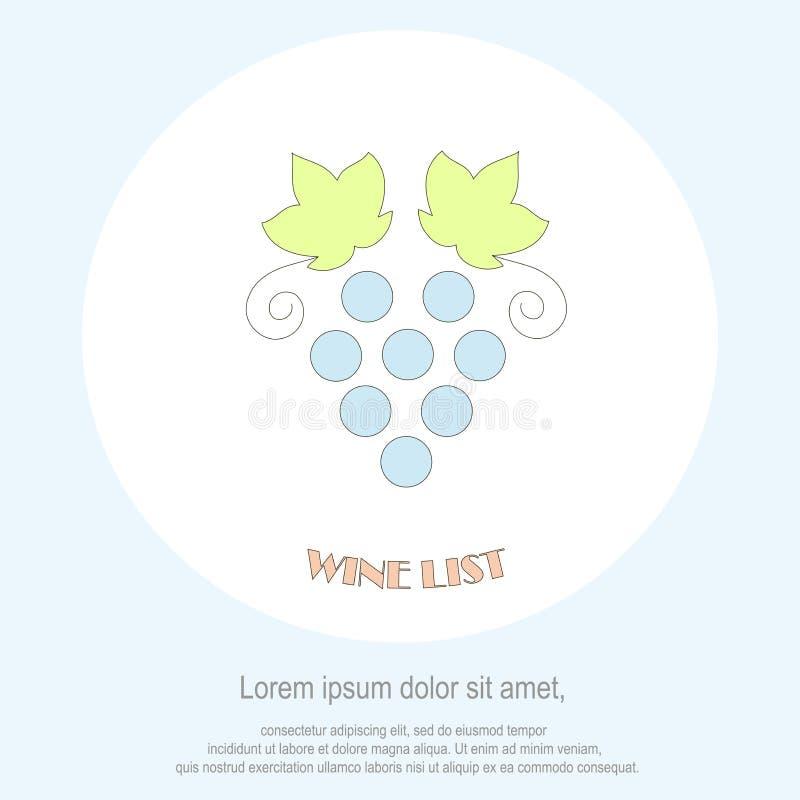 Het malplaatje van het het restaurantmenu van de wijnlijst Lijnstijl, het blauwe groene blad van de druivenbos, Lorem ipsum op wi stock illustratie