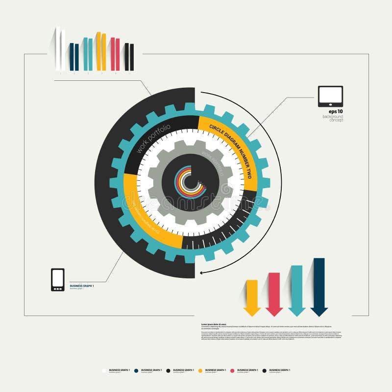 Het malplaatje van het het wieldiagram van het cirkelradertje voor infographic. stock illustratie