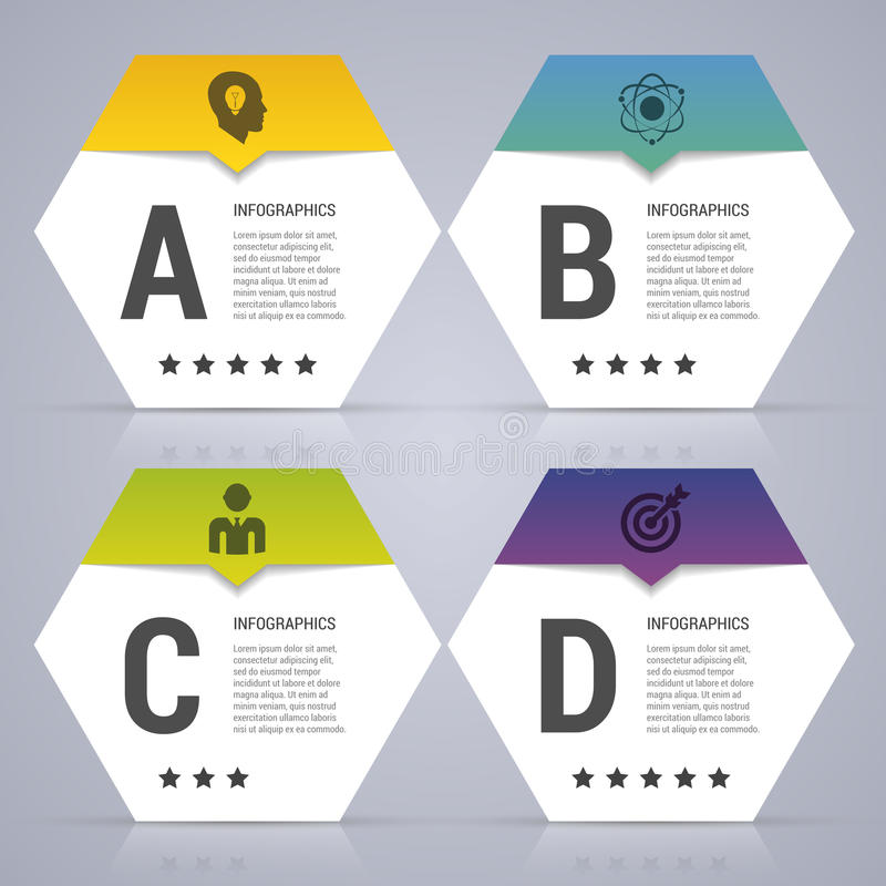 Het malplaatje van het Infographicontwerp Bedrijfsconcept met 4 opties, delen Vector illustratie royalty-vrije illustratie