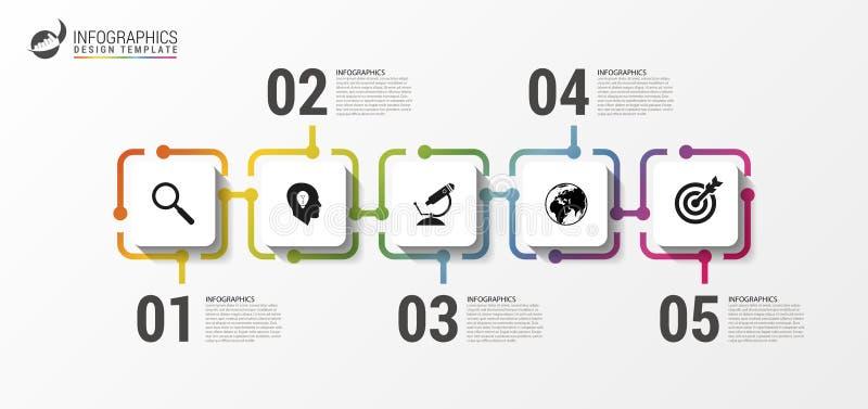 Het malplaatje van het Infographicontwerp Chronologieconcept met pictogrammen vector illustratie