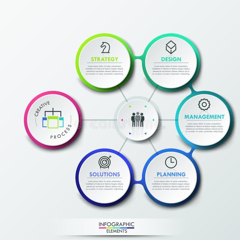 Het malplaatje van het Infographicontwerp met 6 cirkeldieelementen aan centrum worden verbonden, vector illustratie