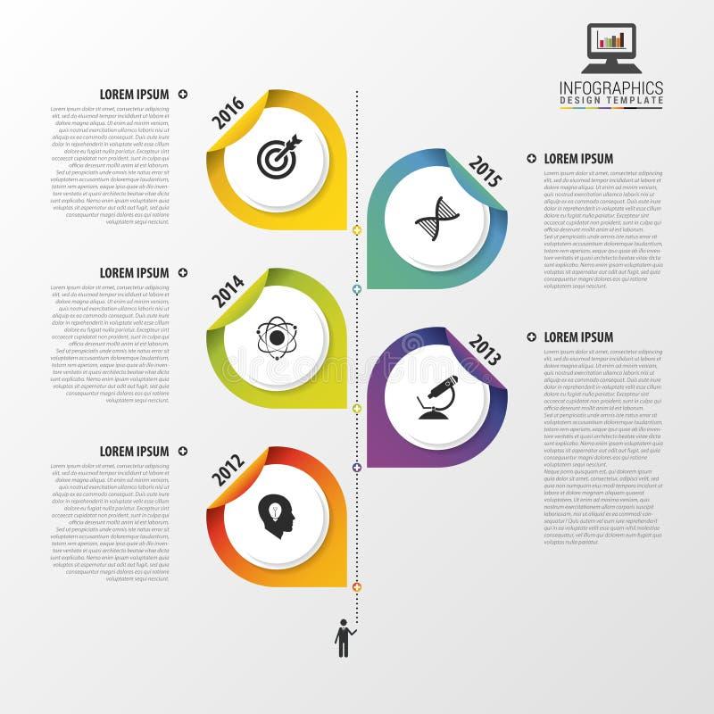 Het malplaatje van het Infographicontwerp met punten Modern bedrijfsconcept Chronologie Vector illustratie royalty-vrije illustratie