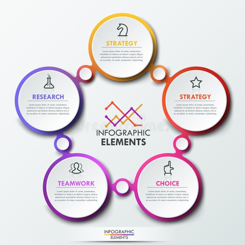 Het malplaatje van het Infographicontwerp met 5 verbonden cirkelelementen stock illustratie