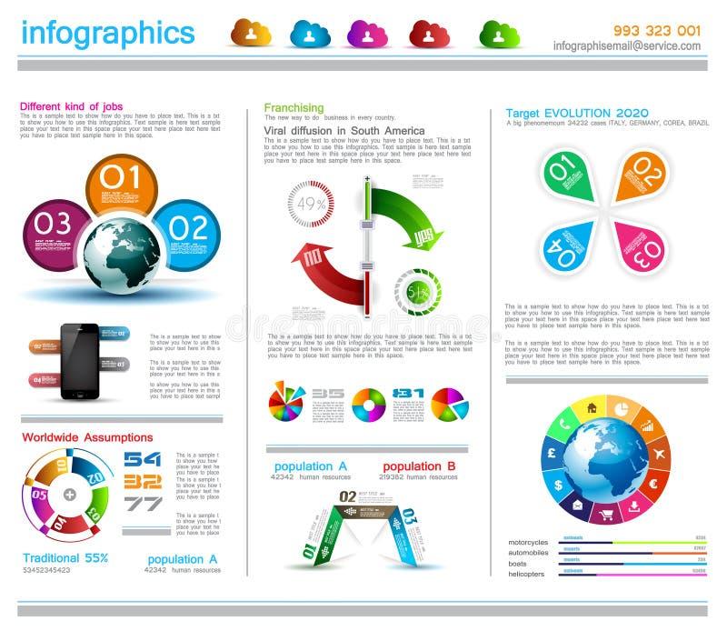 Het malplaatje van het Infographicontwerp met wolkenconcept stock illustratie