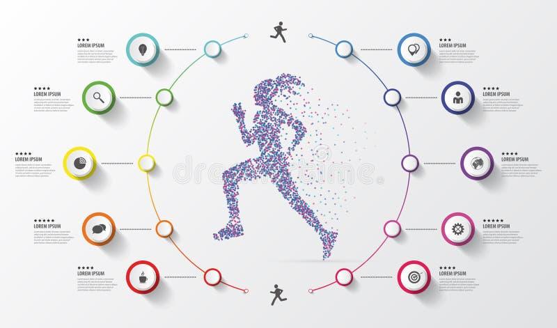 Het malplaatje van het Infographicontwerp running Kleurrijke cirkels met pictogrammen Vector illustratie