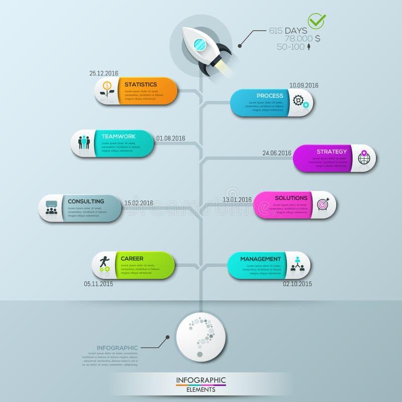Het malplaatje van het Infographicontwerp, verticaal boomdiagram met 8 aangesloten elementen en tekstvakjes royalty-vrije illustratie
