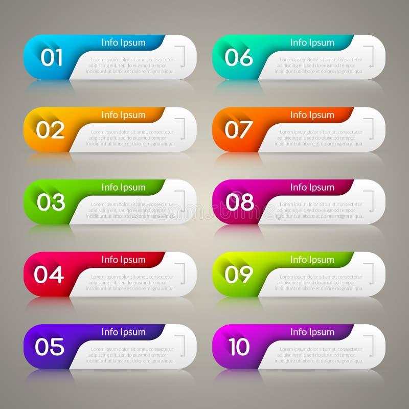 Het malplaatje van het Infographicontwerp voor zaken 10 opties, stappen Webontwerp, bedrijfsdiagram, infographics met aantallen vector illustratie