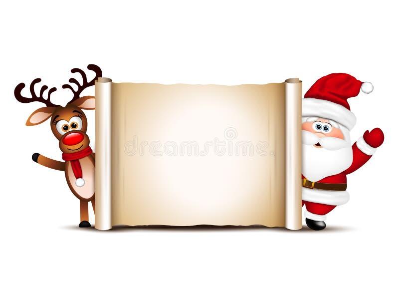 Het malplaatje van het kerstkaartontwerp Santa Claus And His Reindeer stock illustratie