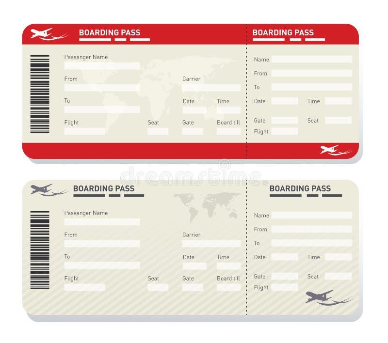 Het malplaatje van het luchtvaartlijnkaartje royalty-vrije illustratie