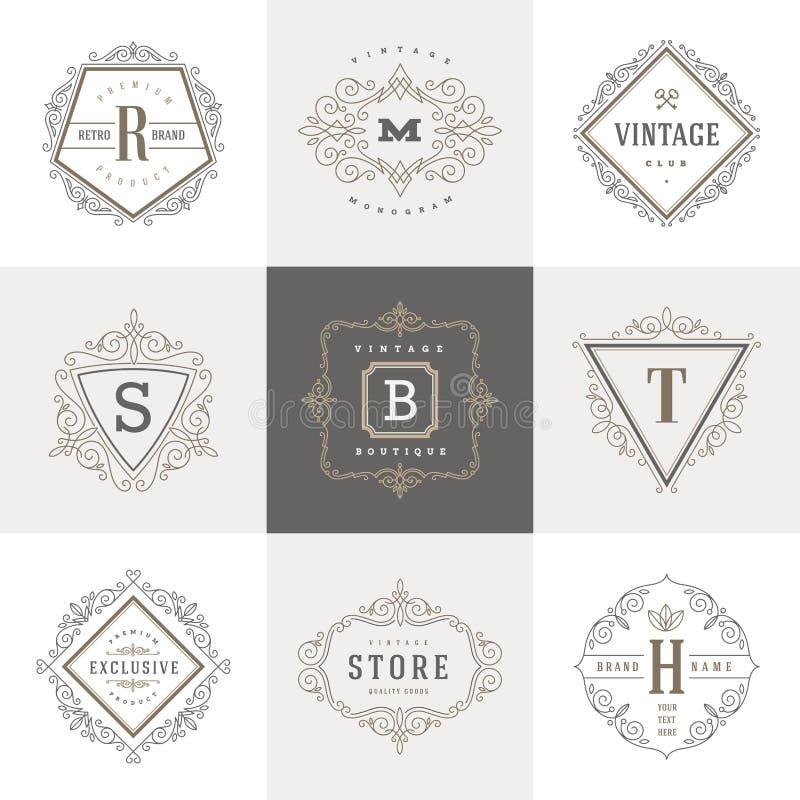 Het malplaatje van het monogramembleem royalty-vrije illustratie