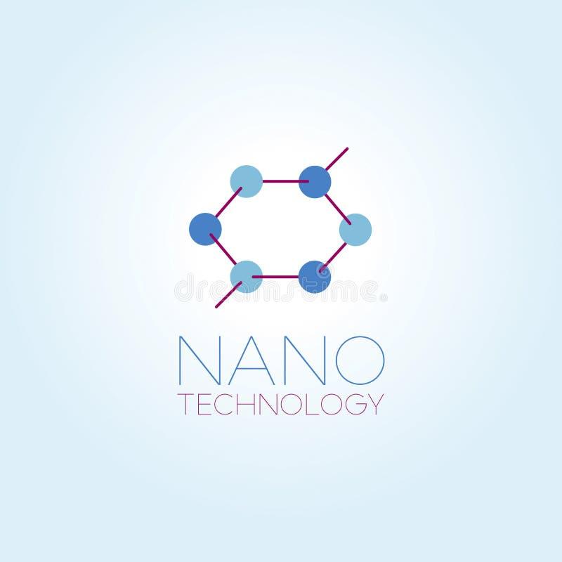 Het malplaatje van het nanotechnologieembleem royalty-vrije illustratie