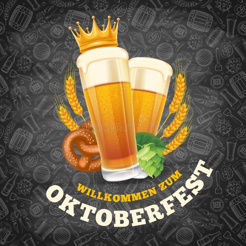 Het malplaatje van het Oktoberfestmenu vector illustratie