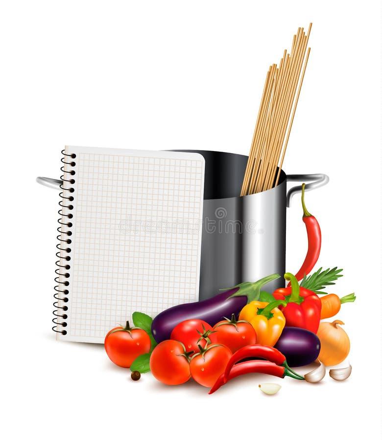 Het malplaatje van het recept Kookboek, groenten en braadpan stock illustratie