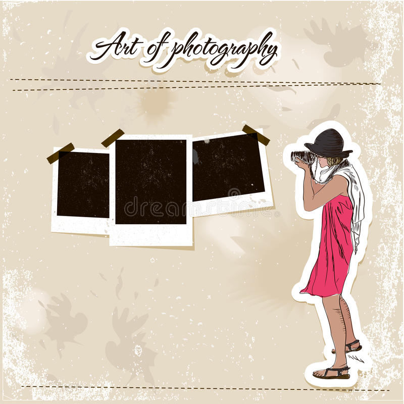 Het malplaatje van het schroot met het meisje van de manierfotograaf. vector illustratie