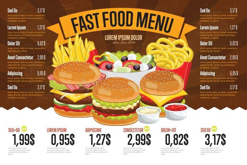 Het malplaatje van het snel voedselmenu stock foto's