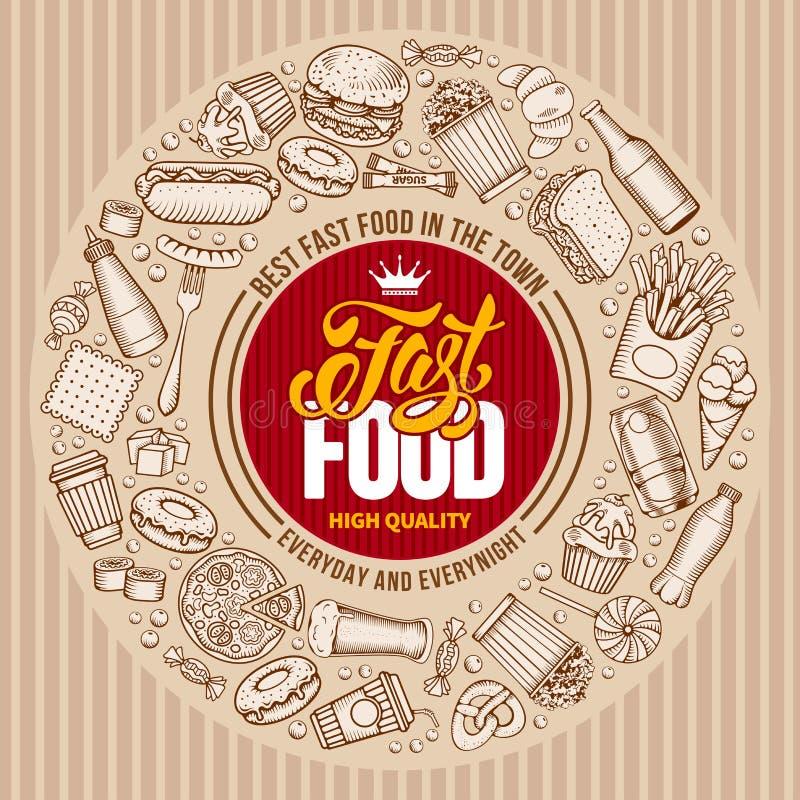 Het malplaatje van het snel voedselmenu stock illustratie