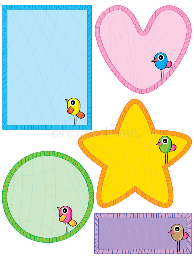 Het malplaatje van het vogelkader schrijft vector illustratie