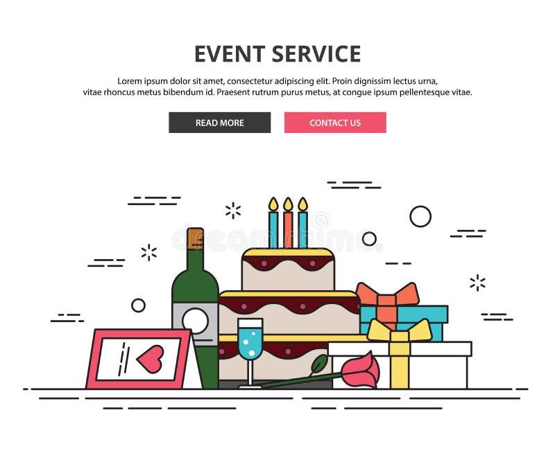 Het malplaatje van het Webontwerp Dunne lijnpictogrammen gebeurtenisorganisatie royalty-vrije illustratie