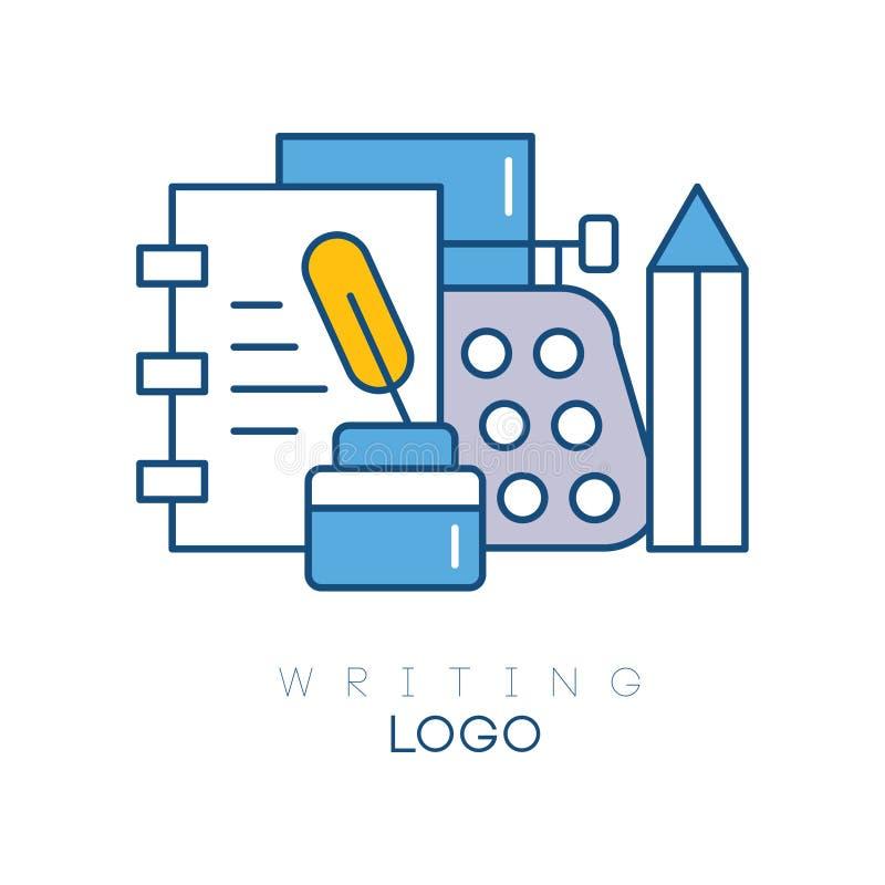 Het malplaatje van het hobbyembleem met notitieboekje, veer in inktpot, mechanisch Desktopschrijfmachine en potlood Lineair emble vector illustratie