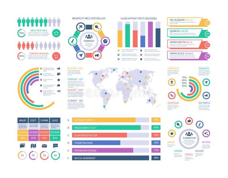 Het Malplaatje van Infographic Financiële investeringsgrafieken, het stroomschema van de kolomdiagramorganisatie De vector van pr royalty-vrije illustratie