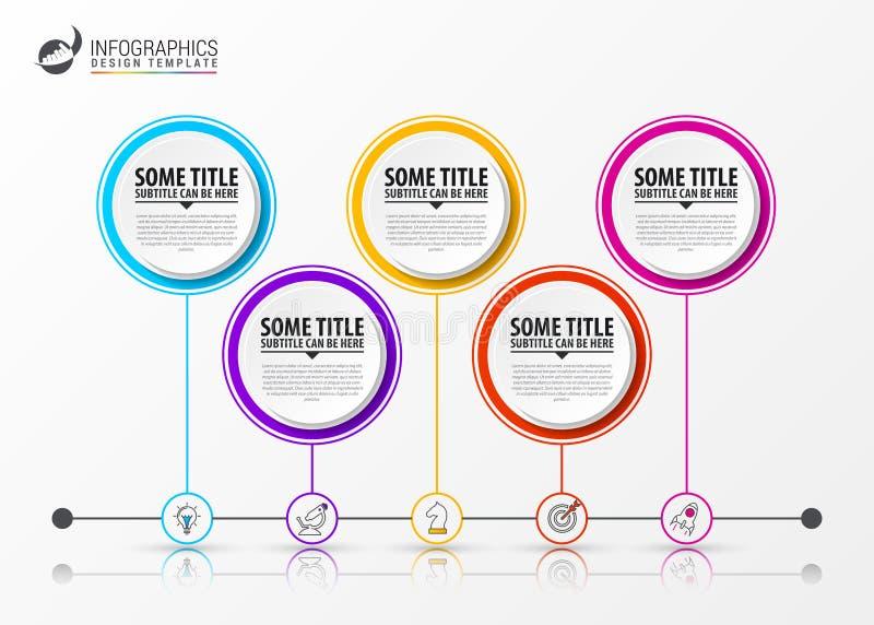 Het malplaatje van het Infographicontwerp Chronologieconcept met 5 stappen royalty-vrije illustratie