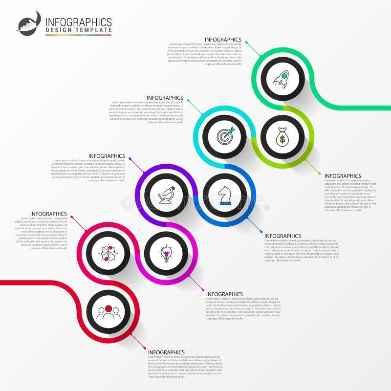 Het malplaatje van het Infographicontwerp Chronologieconcept met 8 stappen stock illustratie