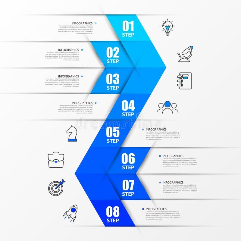 Het malplaatje van het Infographicontwerp Chronologieconcept met 8 stappen Kan voor werkschemalay-out, diagram, banner worden geb stock illustratie