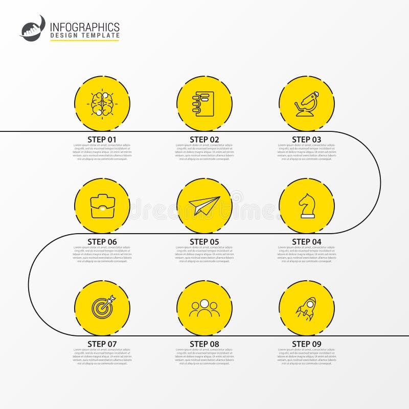 Het malplaatje van het Infographicontwerp Chronologieconcept met 9 stappen stock illustratie