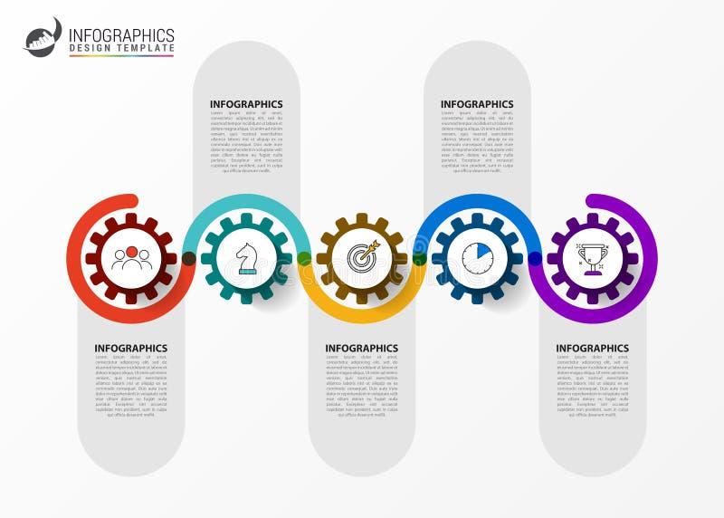 Het malplaatje van het Infographicontwerp Chronologieconcept met 5 stappen vector illustratie